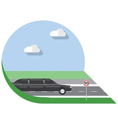 Flat design city Transportation limousine side vector image vector image