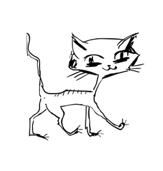 hand drawn happy cat walking vector image