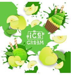 ice cream with apple taste dessert colorful poster vector image