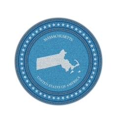 Label with map of massachussetts Denim style vector image vector image