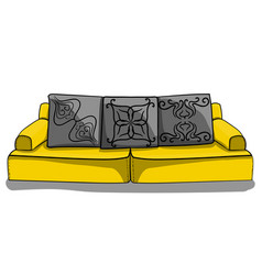 Large yellow low sofa with gray pillows in vector