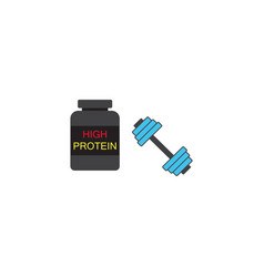 protein powder with dumbbel solid icon vector image