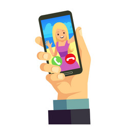 video call with young happy woman using smartphone vector image