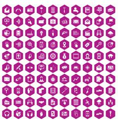 100 mobile icons hexagon violet vector