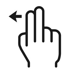 2 finger swipe left line icon touch and gesture vector
