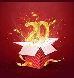 20 th years number anniversary and open gift box vector image