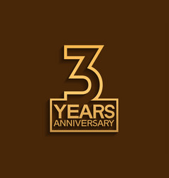 3 years anniversary design line style with square vector