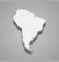 3d map south america vector image