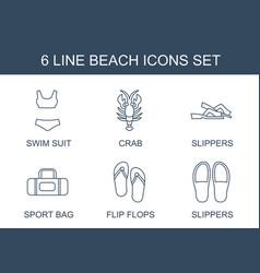 6 beach icons vector
