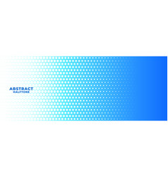 Abstract blue and white halftone wide banner vector