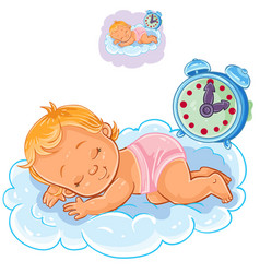 Baby in a diaper is sleeping on the cloud vector
