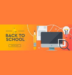 Back to school education online learning flat vector