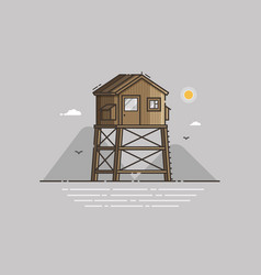 beach life guard house vector image