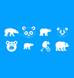 bear icon blue set vector image