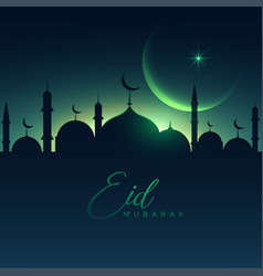 Beautiful eid mubarak night scene with moon vector