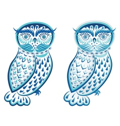Blue Ornamental Owl2 vector image