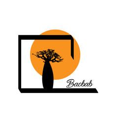Boab or baobab tree isolated logo icon vector