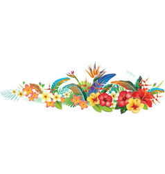 Border with tropical jungle plants and flowers vector