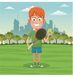 Boy sport activity park city bakcground vector