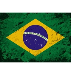 Brazilian flag Grunge background vector image