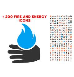 Burn hand icon with bonus energy set vector