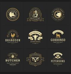 butcher shop logos set good vector image