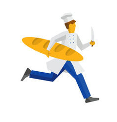 Chef in white hat runs with knife and giant bread vector