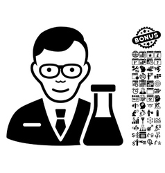 Chemist flat icon with bonus vector
