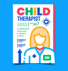 child therapist creative advertising banner vector image