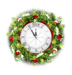 Christmas wreath with clock new year decoration vector