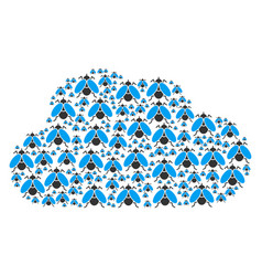 Cloud figure of fly insect icons vector