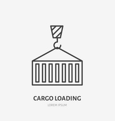 crane loading cargo container flat line icon vector image