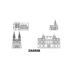 Croatia zagreb line travel skyline set croatia vector