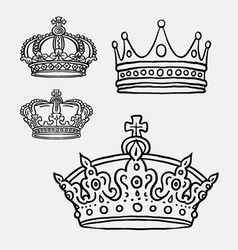 Crown the king symbol hand drawing style vector