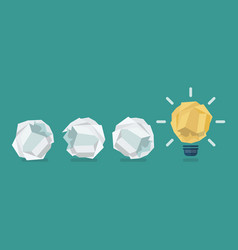 Crumpled paper light bulb with crumpled paper vector