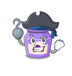 Cute blueberry jam mascot design with a hat vector