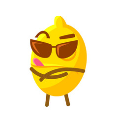 cute cartoon lemon in sunglasses colorful vector image