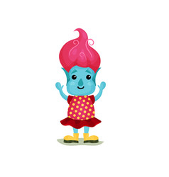 Cute girl troll with pink hair and blue skin vector