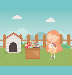 Cute girl with toys box and dog house in the vector