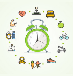 Daily routines fittness concept healthy life vector