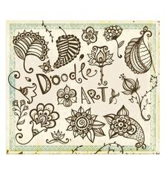 Doodle floral design elements set vector image