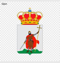 emblem of gijon city of spain vector image