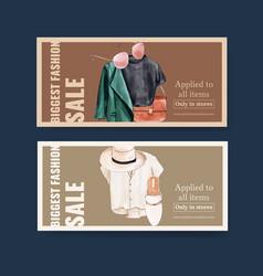 Fashion voucher design with t-shirt coat bag hat vector