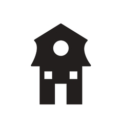 Flat icon in black and white dutch house vector