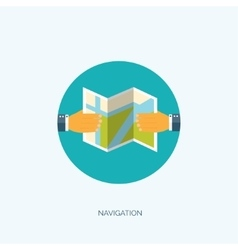Flat navigation background vector image