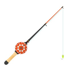 flat style winter fishing rod vector image