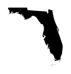 florida state of usa - solid black silhouette map vector image