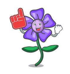 Foam finger periwinkle flower mascot cartoon vector