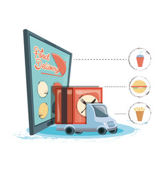 food delivery service with smartphone icon vector image