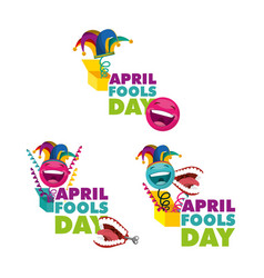 Fools day collection joke box happy celebration vector